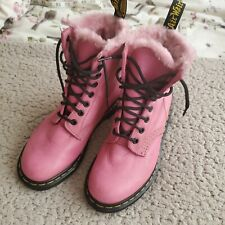 Dr Martens 1460 Serena Faux Fur Lined Ankle Boots Pink Fluffy UK Size 4 EU 37
