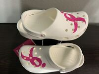 Crocs Classic Susan G Komen Clog White Pink Ribbon Slides Womens Size 8 NEW