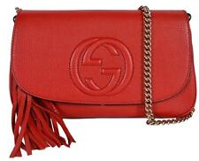 New Gucci 536224  1,695 Red Leather SOHO Tassel Crossbody Purse Handbag dcf6ccd5b4