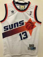NWT Steve Nash #13 Throwback NBA Phoenix Suns Men's Sewn WHITE Jersey