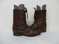 Steve Madden Troopa Brown Leather Zip Lace Military Fashion Boots Size 8 M