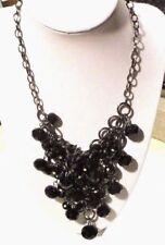 collier argenté chaîne moderne plastron pampilles perles de verre jais noir 3239