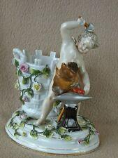 Antico CONTINENTAL Sitzendorf porcellana vaso di fiori incastonati Cesto & Cherub