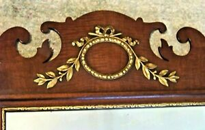Antique Kindel Mahogany Chippendale Wall Mirror w/ Raised Gold Leafing STUNNING