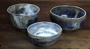 Studio Hand Thrown Pottery Nesting Bowl Set Of 3 ~ Signed