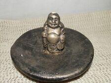 Happy Buddha, Ceramic, Gold, Incense Stick Holder