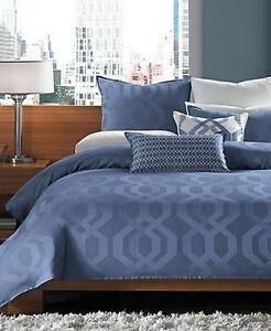 New Hotel Collection Modern Hexagon California King Bedskirt Bedding Blue $150