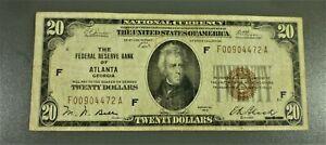 1929 $20 FRB Brown Seal Note Atlanta District