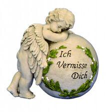 Engel an Kugel Spruchstein 19 cm Grabschmuck Grabdeko Grabstein Gedenkstein NEU