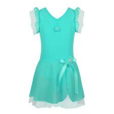 Girls Dance Leotard Dress Kids Skating Ballerina Ballet Skirt Costume Turquoise