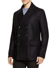 $995 HARDY AMIES men BLUE WOOL DOUBLE BREASTED JACKET TRENCH COAT OVERCOAT 38 R