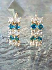 Blue Zircon And White Sapphire Round Cut Earrings 14kt Solid Yellow Gold