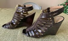 Jessica Simpson Brown Snakeskin Strappy Gladiator Zip Up Wedge Sandals Size 6