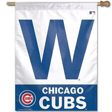 """Chicago Cubs W WIN Authentic 27""""x37"""" Polyester Indoor/Outdoor Banner Flag MLB"""
