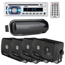 """Pyle Bluetooth Aux Usb Boat Receiver + Radio Cover & (4) 3.5"""" Box Boat Speakers"""
