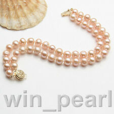 AAA+ 2 Rows 7-8mm Genuine Pink Natural Freshwater Akoya Pearl Bracelet 7.5""