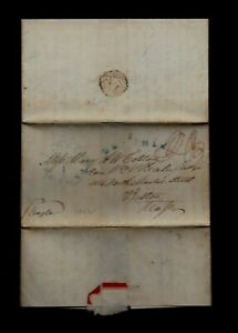 """1842 Barbados stampless SHIP """"Mourning"""" LETTER to Boston, YELLOW FEVER DEATH"""