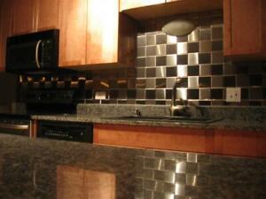 "4"" x 4"" Brushed Stainless Steel Kitchen Backsplash Tile"