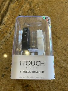 New iTouch Slim Fitness Tracker Black Or White Interchangeable Band Android/Ios