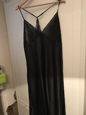 Long Black Satin m&s Nightdress Size 22