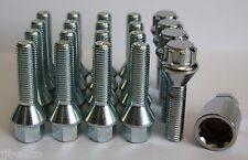 16 X M12 X 1,5 33mm Plata cónico Rueda de la aleación Pernos + pernos de bloqueo Lug Nuts