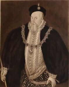 1896 ANTIQUE PRINT (QUEEN ELIZABETH I) THE EARL OF LEICESTER