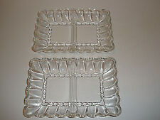 Vintage 2 Identical Mid-Century Divided Rectangular Dishes MINT! Anchor Hocking