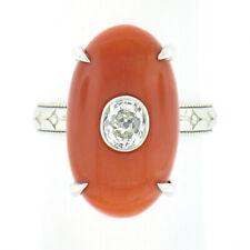 Antique Platinum FINE Oval GIA Reddish Orange Coral & Mine Cut Diamond Ring