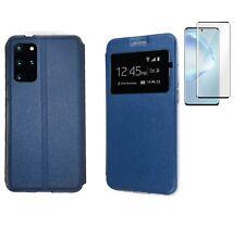 Funda Samsung Galaxy S20+ Plus Azul Libro ventana + Cristal Completo 3D