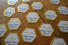 25 GOLD MARBLE FREE DRINK WEDDING PARTY TOKEN VINTAGE SCRIPTED GEOMETRIC