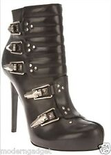 Alexander McQueen HIGH HEEL BUCKLED BLACK LEATHER ANKLE BOOTS  EU 36 US 6