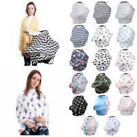 Multifunctional Nursing Baby Car Cover Geometric Floral Printing Swaddle Blanket