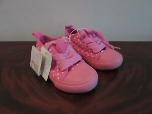 MOTHERCARE GIRLS PINK AND WHITE FIRST WALKERS - SIZE 4 (20.5)