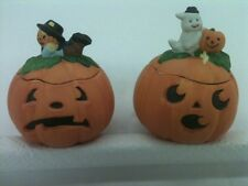 "Two 4"" Ceramic Decorative Pumpkins / Jack - O - Lanterns  With Removable Lids"