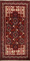 3x6 Tribal Balouch Afghan Geometric Oriental Area Rug Hand-Knotted Foyer Carpet
