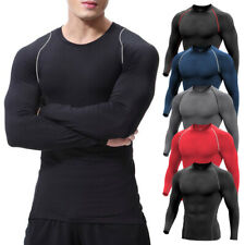 Mens Compression Base Layer Thermal Long Sleeve Fitness T-Shirt Top Gym Pants