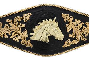 Men Buckle Metal Cowboy Western Fashion Gold Horse Rodeo Black Long Heavy Texas
