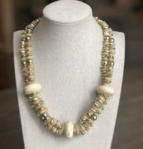 NWOT CHICO'S Cream Marbled Stone & Gold Beaded Multi Strand STATEMENT NECKLACE