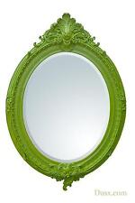 DUSX Almandine French Rococo Antique Green Leaf Oval Large Mirror