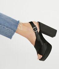 Schutz Sandal Heel 5'' black Satin Platform  7 New
