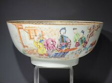 18th c Antique Chinese Export Famille Rose Porcelain Punch Bowl