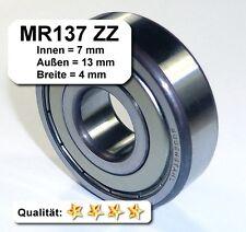 4 Stk. Radiales Rillen-Kugellager MR137ZZ - 7x13x4, Da=13mm, Di=7mm, Breite=4mm