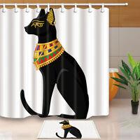 Egyptian cat Waterproof Fabric Shower Curtain Bathroom set home decor 180x180cm