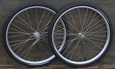 "28"" Prewar Bicycle CadRaw WHEELS Vintage Schwinn Morrow Hubs Wood Rim Bike Tires"