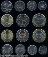 BOTSWANA SET OF 6 COINS 5 10 25 50 THEBE 1 5 PULA 2001-2009 UNC