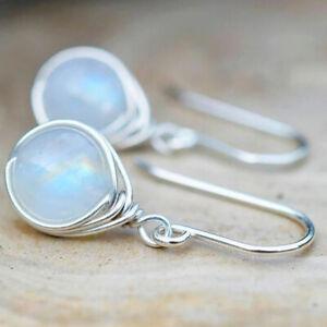 Fashion Women 925 Silver Moonstone Wedding Earrings Ear Dangle Drop Hook Jewelry