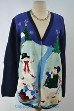 Quacker Factory ugly CHRISTMAS SWEATER cute knit top beaded cardigan bead L VTG