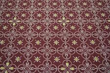 Japanese Woollen Fabric Maroon with Yellow and white Flowers 1171