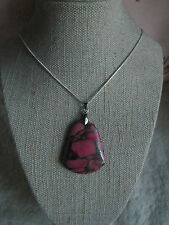 ~ Natural Pink Matrix Pyrite Turquoise Gemstone Pendant & Silver Plated Chain ~