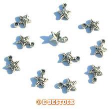 20 perles Breloques Pendentifs Etoile en métal 14 x 8 mm  Argenté vieilli